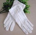 La primavera y el otoño de los hombres y de las mujeres 100% algodón blanco guantes elásticos guantes de Etiqueta al por mayor