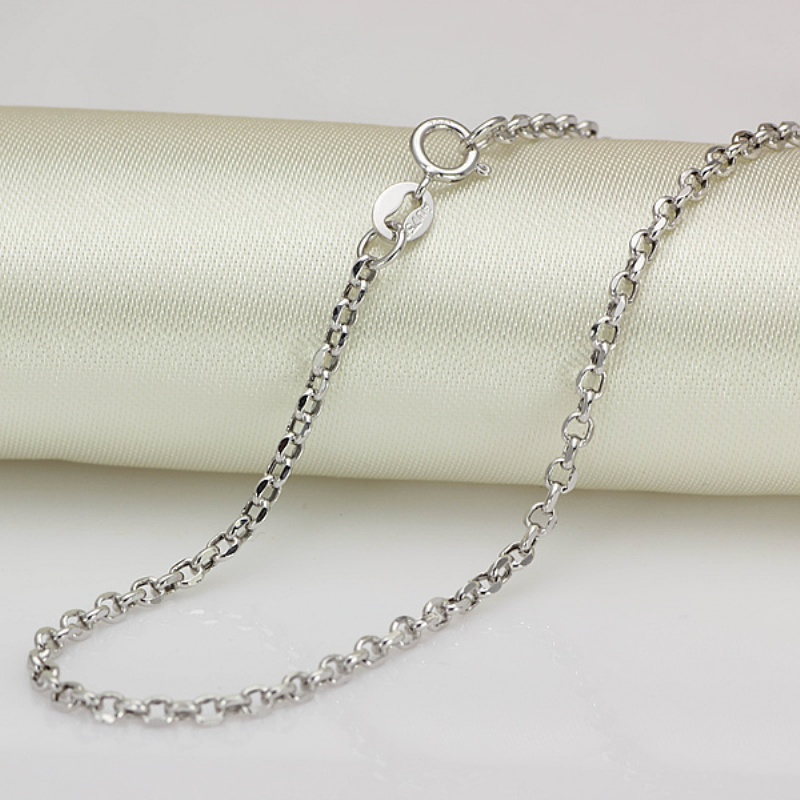 New Arrival Au750 Pure 18K White Gold Chain Women Cable Link Necklace 22inch