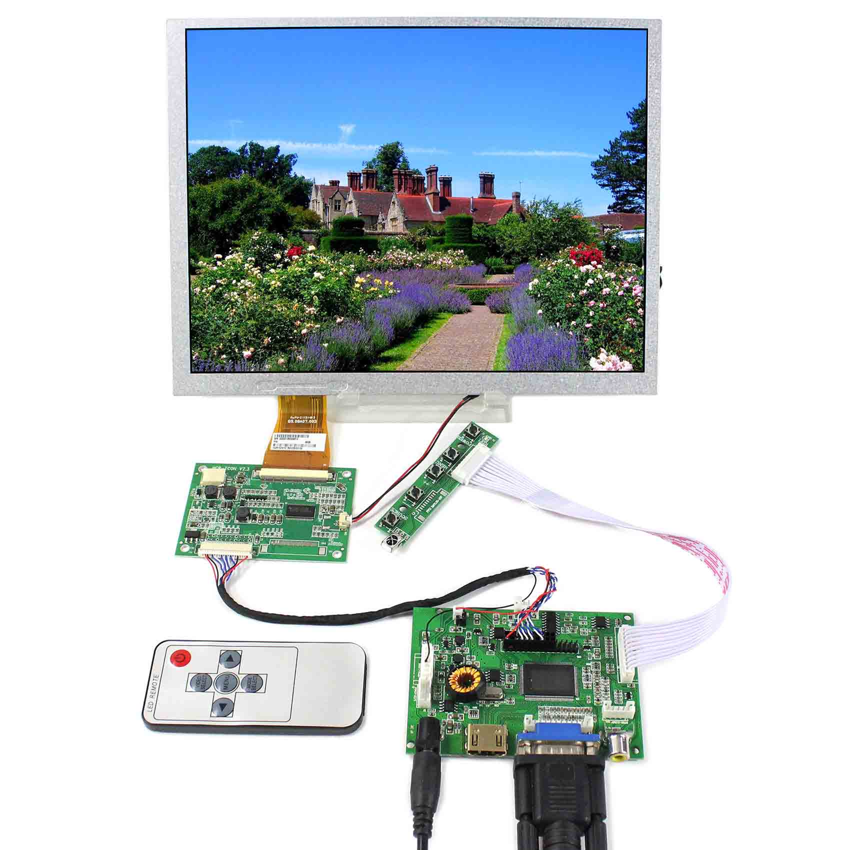 HDMI+VGA+2AV+Audio LCD Controller Board With 10.4inch 800X600 A104SN03-V1 LCD ScreenHDMI+VGA+2AV+Audio LCD Controller Board With 10.4inch 800X600 A104SN03-V1 LCD Screen