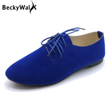 2018 New Candy Color Women Shoes Plus Size Flats Shoes Woman Lace-up Spring Autumn Ladies Shoes Zapatos Mujer Size 41 42 WSH2343