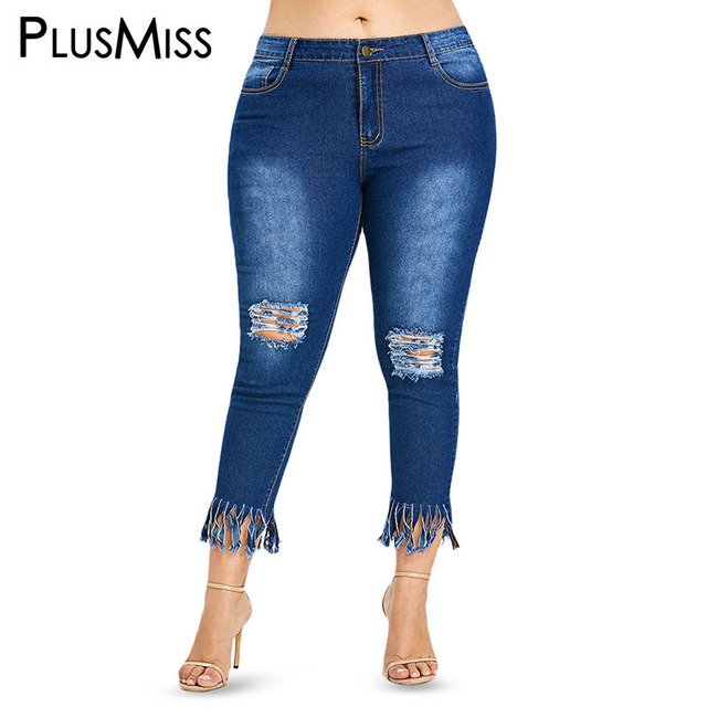 07ab38f372 PlusMiss Plus Size Distressed Ripped Ankle Capris Jeans Mom XXXL XXL Women  Female Sexy Hole Cropped Denim Pants Femme Big Size