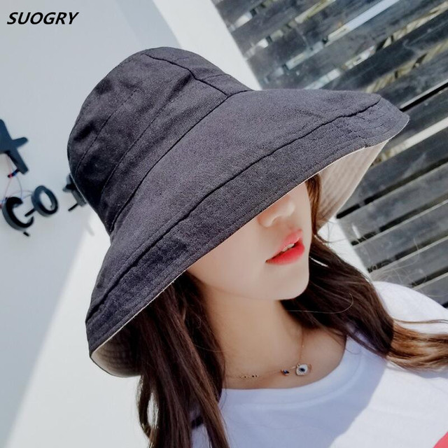 SUOGRY Sun Hat Anti-UV Cotton Summer Hat For Women Vacation Wide Brim Beach  Hat 6c6513cf0a63