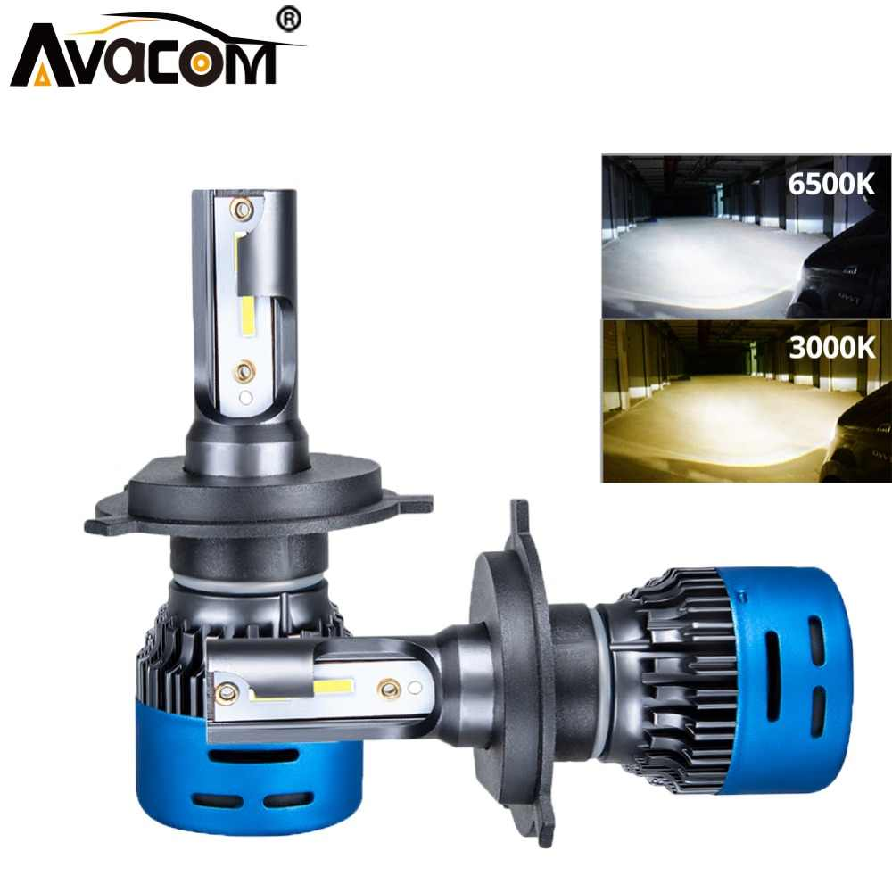 Avacom 2 Pieces LED HS1 Motorcycle Headlights Lamp Super Bright 3000K 6500K 9600Lm 40W LED H4 High Low Phare Moto Scooter Light