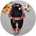 0-3 лет весенние модели мальчик хлопок детская одежда Корейский поддельные трое детей костюм мужской мальчики клетчатую рубашку + брюки