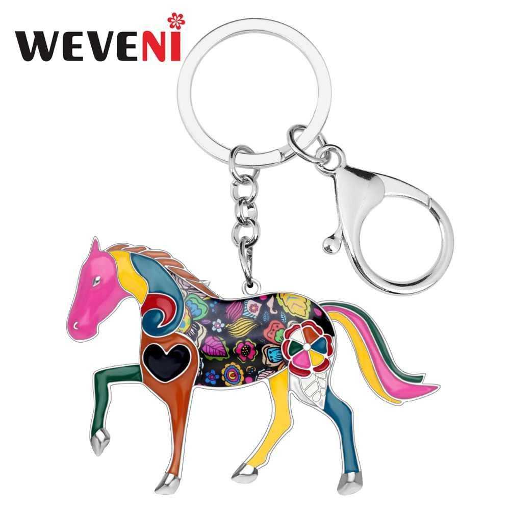 WEVENI المينا تألق الحصان مفتاح سلسلة للنساء حقيبة يد حلية حلقة رئيسية رجل سيارة المفاتيح 2017 جديد مجوهرات اكسسوارات