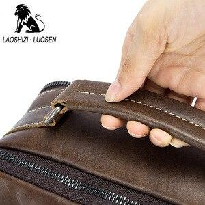 Image 3 - LAOSHIZI النفط حقيبة كتف جلدية Crossbag الذكور حقيبة جلدية أصلية الذكور عادية سعة كبيرة صغيرة رفرف حقيبة يد
