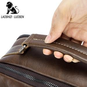 Image 3 - Laoshizi Olie Lederen Schoudertas Crossbag Mannelijke Lederen Tas Mannelijke Toevallige Grote Capaciteit Kleine Flap Handtas