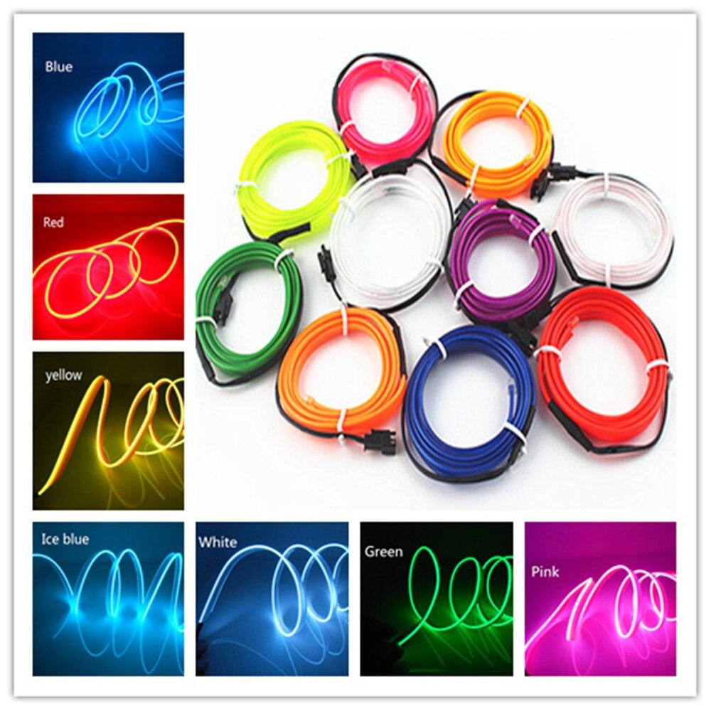 1m 3m 5m Car 12V LED Cold lights Flexible Neon EL Wire Auto Lamps on Car