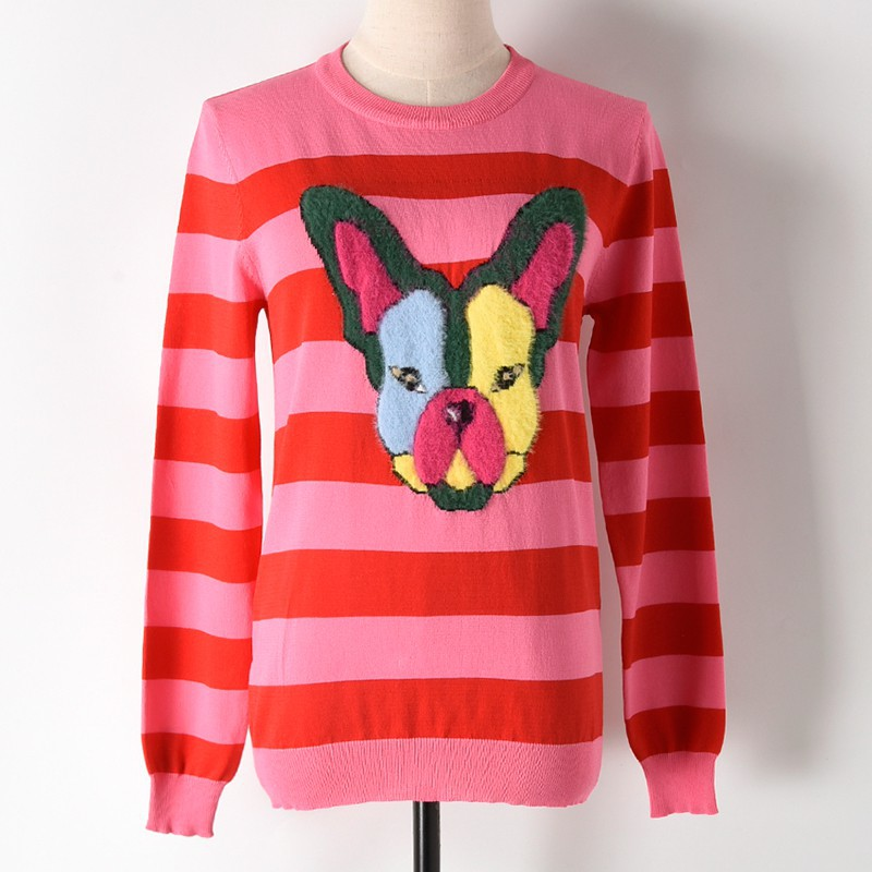 The new spring color stripe silk knit Dog head T neck long sleeved turtleneck Womens spot Sweater ...