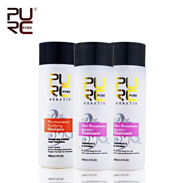 Кератин выпрямления волос лечение 2x100 мл 5% формалина Лучший Кератин + 100 мл очищающий шампунь Бразильский кератин