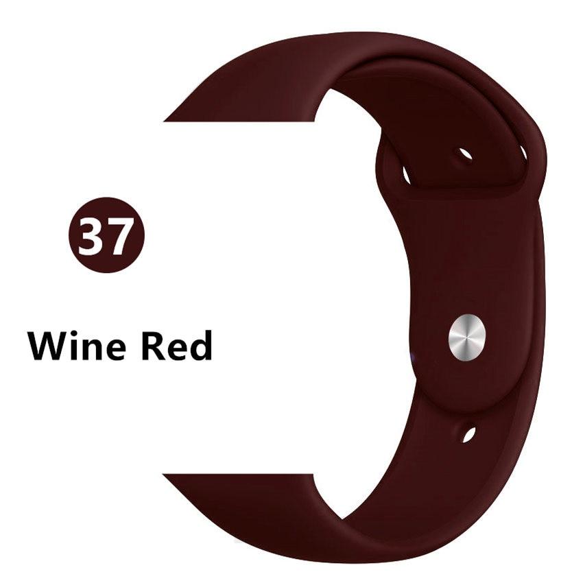 Ремешок для Apple Watch 38 мм 42 мм iWatch 4 ремешка 44 мм 40 мм спортивный силиконовый ремень браслет Apple watch 5 4 3 2 Аксессуары для ремешка - Цвет ремешка: Wine red