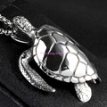 Top Quality Cool Punk Gothic Sea Turtle Pendant 316L Stainless Steel Men's Necklace Free Box Chain Silver Tone Jewelry