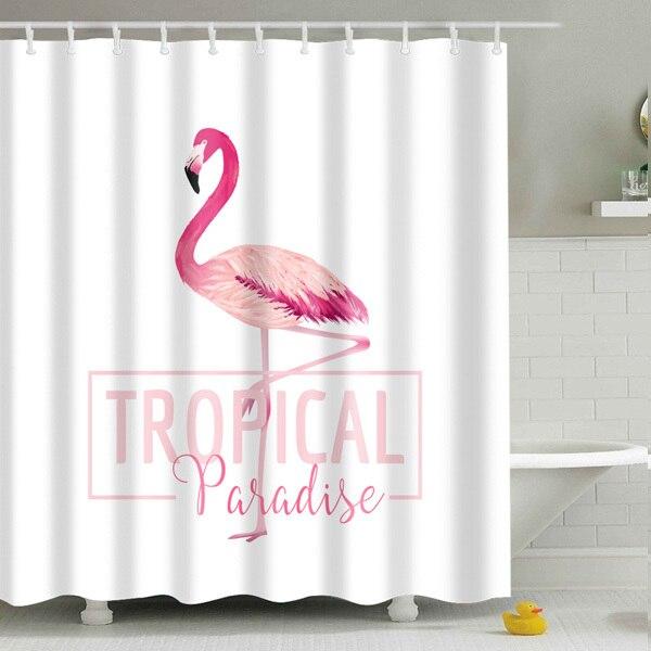 flamingo shower curtain washable bath waterproof polyester fabric cute animal print bathroom curtain with plastic hook tz170734