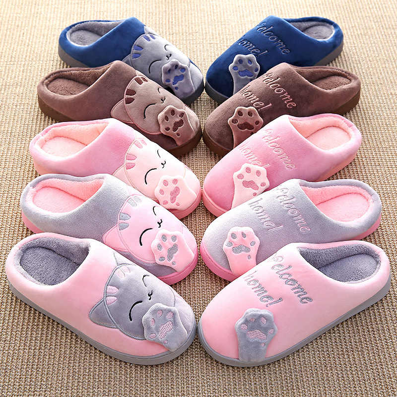 Cat Animal Prints Cute Home Slippers Short Plush Warm Soft Cotton Women Slippers Loves Floor Indoor Shoes Women Large Size 45
