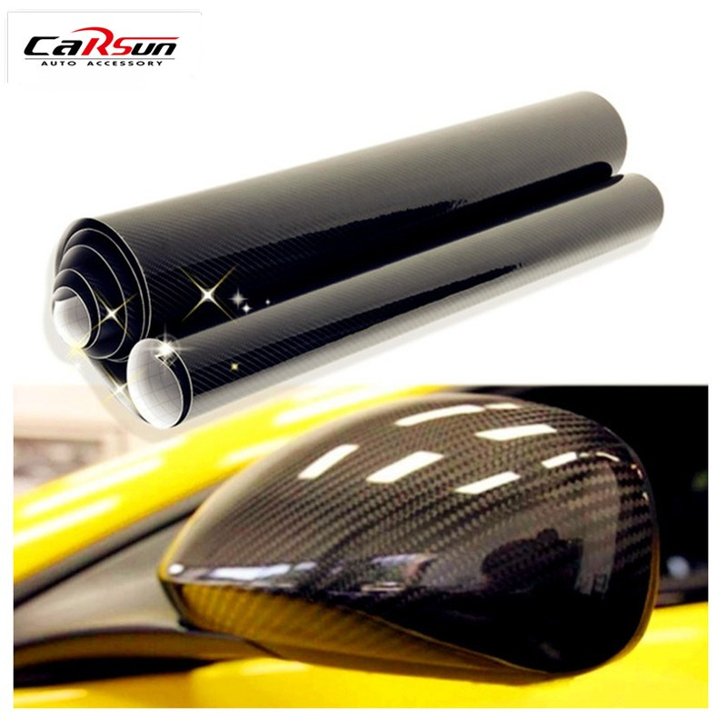 5D Car Sticker 200cmX50cm (78.7 InchX19.7 Inch) Glossy Carbon Fiber Vinyl Film Wrap Foil Waterproof DIY Car Decorative Sticker