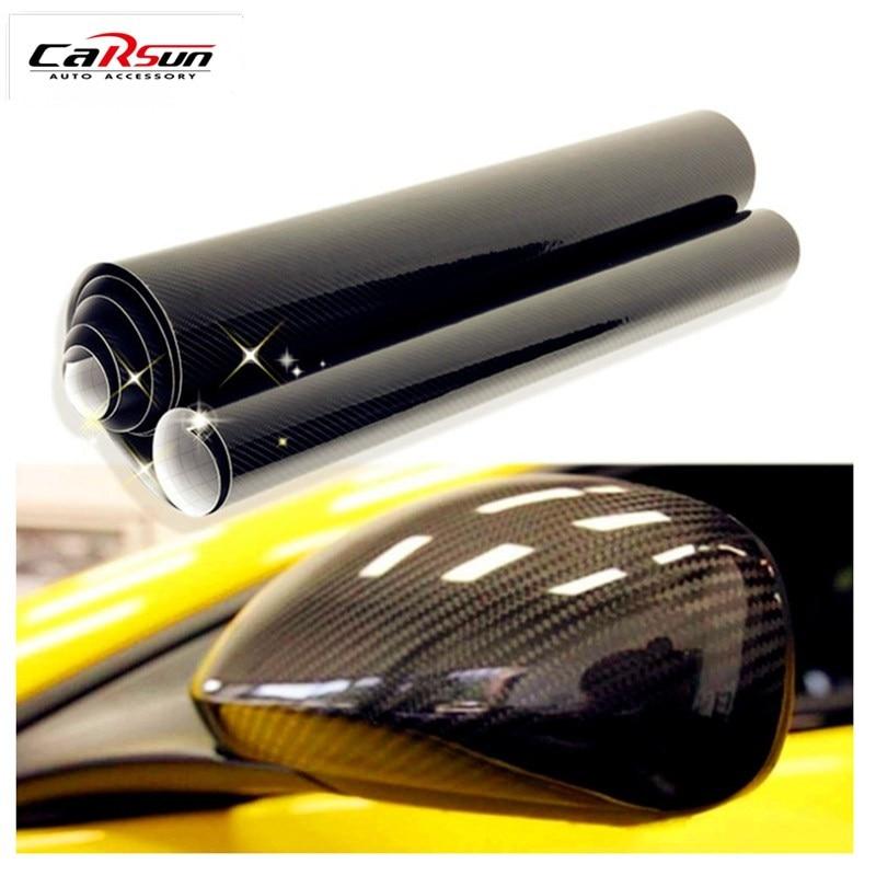 Pegatina para coche 5D 200 cm X 50 cm (19,7 pulgadas X 78,7 pulgadas) lámina de vinilo de fibra de carbono brillante papel de aluminio impermeable DIY pegatina decorativa para coche