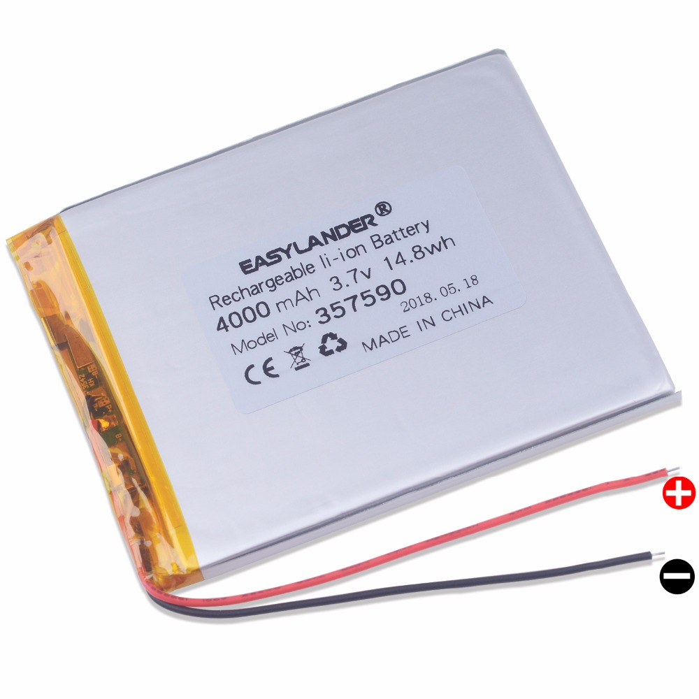 "357590 4000mAh 3.7V Rechargeable Li-Polymer battery For 7"" Tesla Effect 7.0w  Neon 7.0w  Oysters T72HMi 3G T72 Hmi  Tablet"