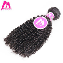 Maxglam Peruvian Afro Kinky Curly Human Hair Weave Bundles Natural Color Remy Hair Extension Free Shipping(China)