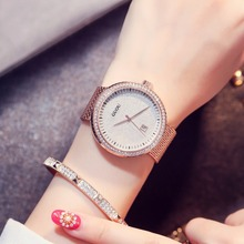 GUOU Esfera Azul Relojes de Pulsera de Las Mujeres de Moda Reloj de Oro de Lujo Del Rhinestone Grande Caja de Reloj Casual Reloj Mujer relogio feminino