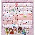 100% cotton unisex newborn gift sets girls clothing sets spring & Autumn o-neck character long sleeve fashion baby boy 18 piece