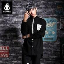 GENANX Brand Fashion Long Sleeved Black Casual Print Shirts Male Social Dress Shirt Clothes Size M-Xxl