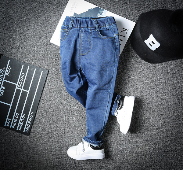 Spring new style Korean Boy Cowboy 2017 New Children Baby solid blue Stretch Pants Girl Jeans Kids New Arrival school clothes