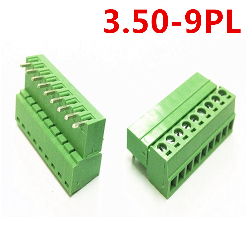 10sets 9 Pin PCB 15EDG-3.5mm spacing Right Angle Bend Pluggable Type Screw Green Terminals Block Connector pin header and socket