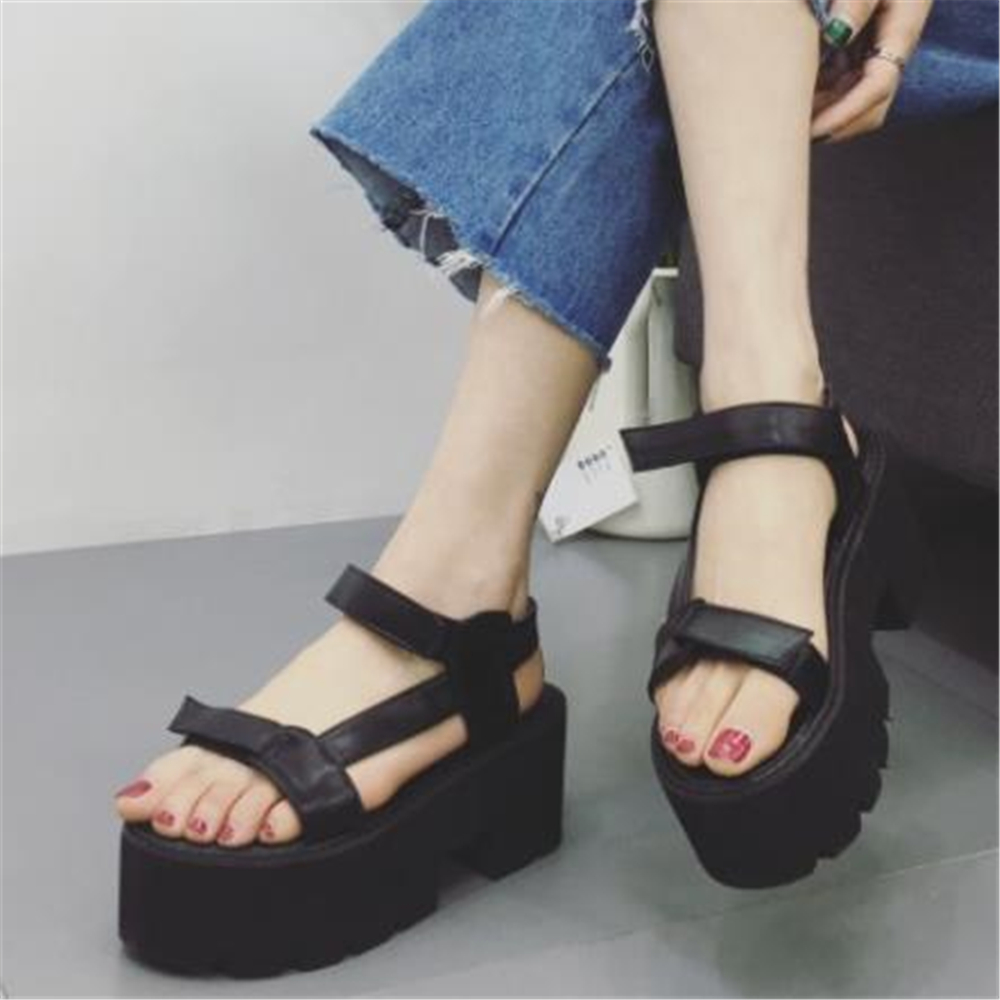 European style 2019 new Japanese street womens shoes Korean muffin thick thick high heel Roman women sandals Simple casualEuropean style 2019 new Japanese street womens shoes Korean muffin thick thick high heel Roman women sandals Simple casual