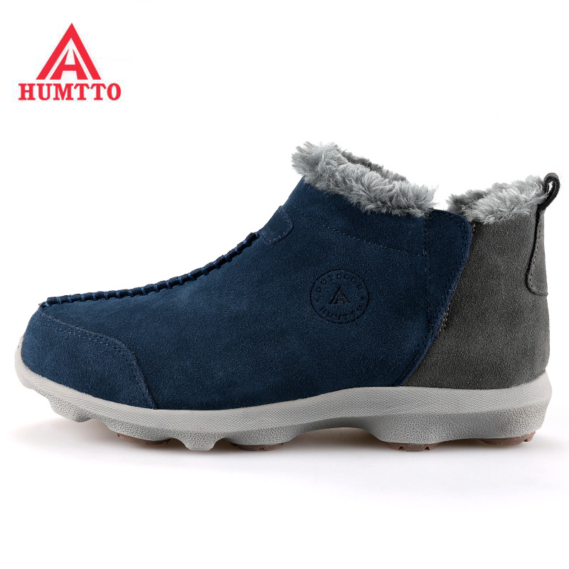 HUMTTO Men's Winter Outdoor Hiking Trekking Boots Shoes Sneakers For Men Leather With Velvet Climbing Mountain Boots Shoes Man famous brand men s winter outdoor hiking trekking boots shoes for men warm leather climbing mountain hunting boots man quality
