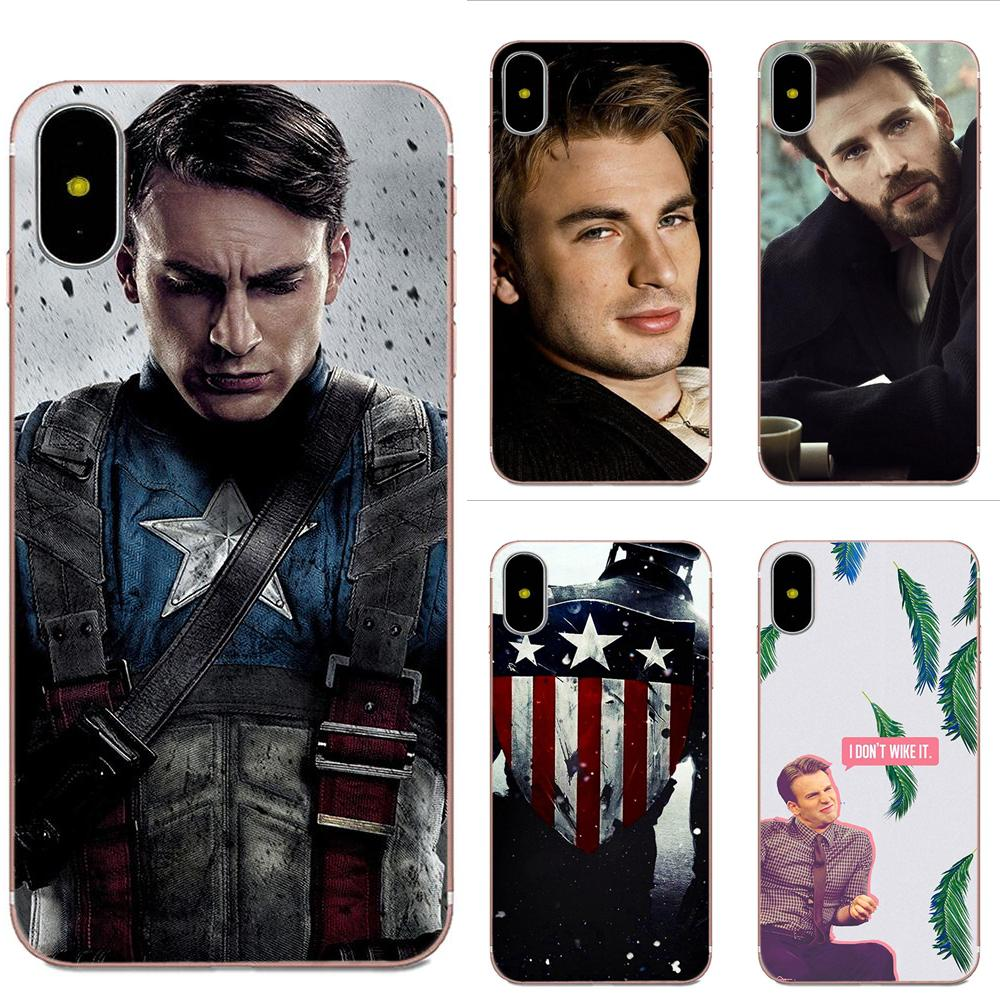Captain America Chris Evans For Galaxy J1 J2 J3 J330 J4 J5 J6 J7 J730 J8 2015 2016 2017 2018 mini Pro Soft TPU Hipster Case image