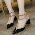 Women Pumps Summer Sandals Mid High Heels Square Heel Pointed Toe SEXY Rivets Patent Leather Office/Career Shoes Woman