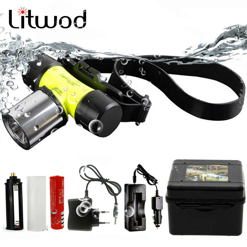Litwod Z20 D6800 צלילה פנס פנס מתחת למים 50M Waterpoof XM-L T6 ראש מנורת 4000 לום ראש פנס לשחייה