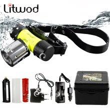 Litwod Z20 D6800 Tauchen scheinwerfer Scheinwerfer unterwasser 50M Waterpoof XM-L T6 kopf lampe 4000 Lumen Kopf Taschenlampe für Schwimmen