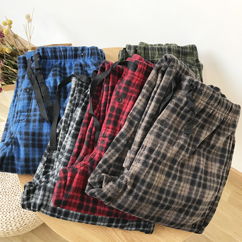 Man's Sleep Long  Pants Cotton Flannel Pants Mens Sleep Bottoms Men Pants