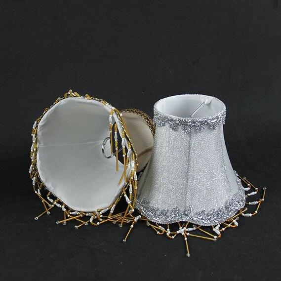 Pantalla de araña de lujo Llace, lámpara de tela de pared dorada y plateada, sombras con cuentas, Clip 2 piezas de lámpara de papel de pantalla blanca para colgar