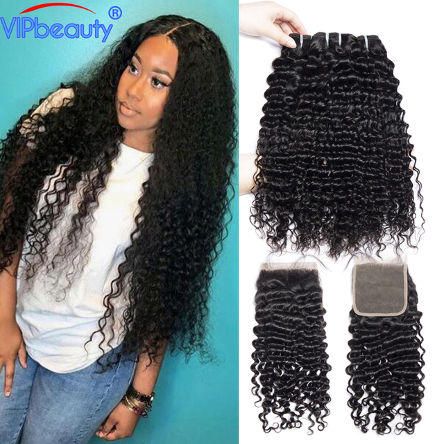 Vip Beauty Peruvian Deep Curly Hair 3 Bundles With Closure Non Remy