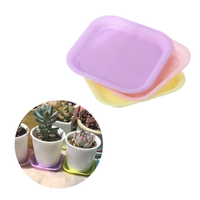 Plastic Plant Flower Pot Saucer Square Base Water Planter Tray ...