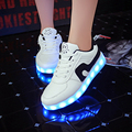 2016 Unisex Zapatos para Hombre pareja de Adultos Zapatos Luminosos LED Iluminado Zapato Tenis 11 color Glow Led USB Recargable de Luz LED cordones de Los Zapatos