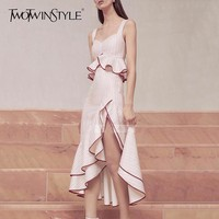 TWOTWINSTYLE Ruffles Skirt Two Piece Set Female Striped Sleeveless Short Top With High Waist Split Sexy