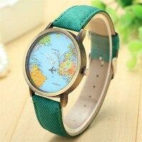 Wholesale Price World Map Watch Women Checkers Lady Dress Watch Women S Casual Leather Quartz Watch