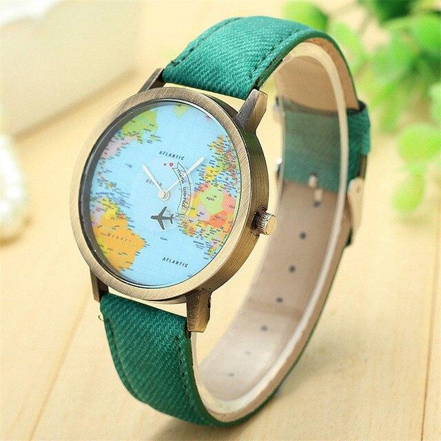 Relogio Feminino World Map watch clock women Checkers Ladies dress watch, women's Casual quartz-watch women's wrist watch