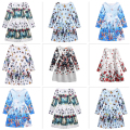 New Spring 2017 Fashion Print Teenager Girl Dress Princess Europe Style Princess Dresses Children Clothing For Girls 5-12 Years