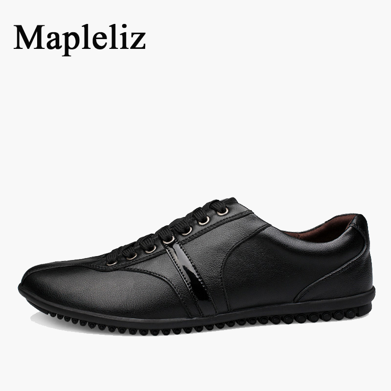 Mapleliz Brand Soft Men Casual Shoes Lace-up Genuine Cow Leather Big Size Classics Male Flats New Arrival Spring Shoes for Men new arrival 2015 men fashion casual suede flats shoes soft lace up non slip moccasin male tos hombre size 41 44