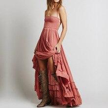 Ruffle Bohemian Boho Summer Dress Women 2019 People Backless Sexy Maxi Dress Party Hippie Bandage Beach Plus Size Dress XXL