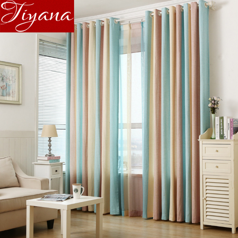 Colored Striped Curtains Voile Window Screen Yarn Panel Modern Living Room Bedroom Tulle Curtains Drapes Linen Rideaux T&391 #20