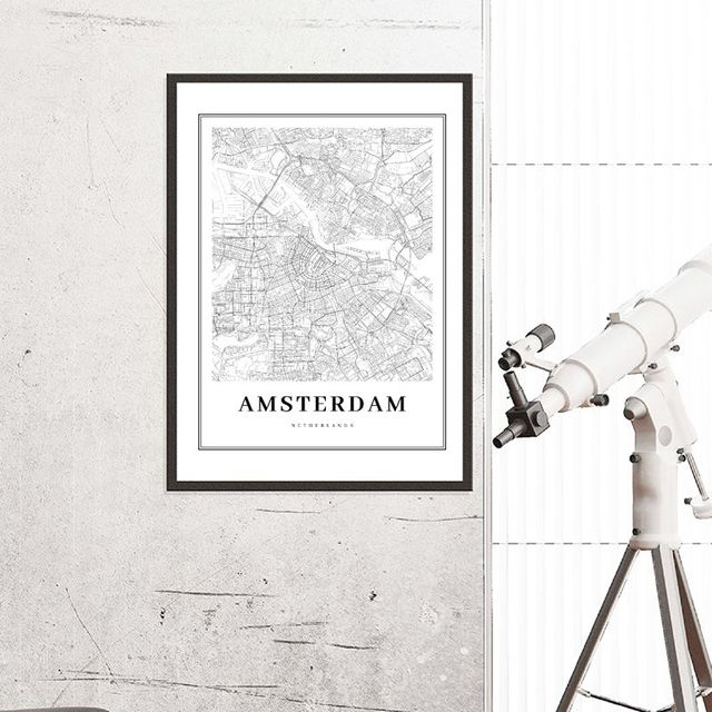 Netherlands Amsterdam City Map Poster Wall Art Canvas Painting Black White Print Dutch Family Modern