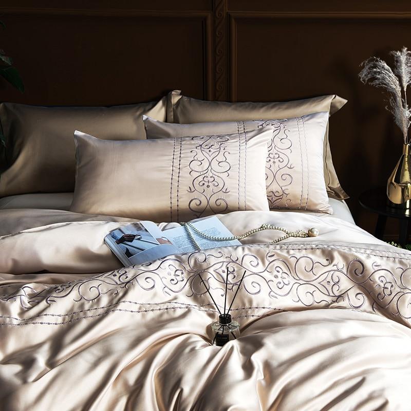 (7)  White silver cotton imitate silk luxurious Bedding Set queen king measurement mattress set Bedsheets linen Europe embroidery Quilt cowl set HTB1y9EDgLuSBuNkHFqDq6xfhVXa2