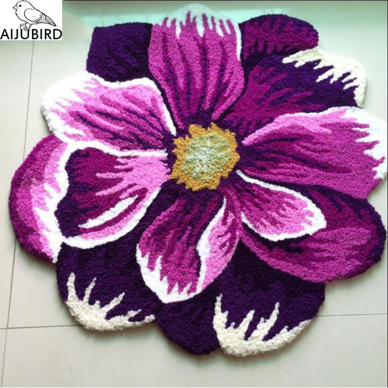carpet rug Chinese wind embroidered purple dahlias carpet bedroom bed to warm floor MATS rug Beauty room bed front floor mat