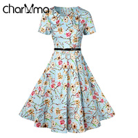 CharMma Vintage Pin Up Floral Print Dress Women Short Sleeve O Neck A Line With Belt