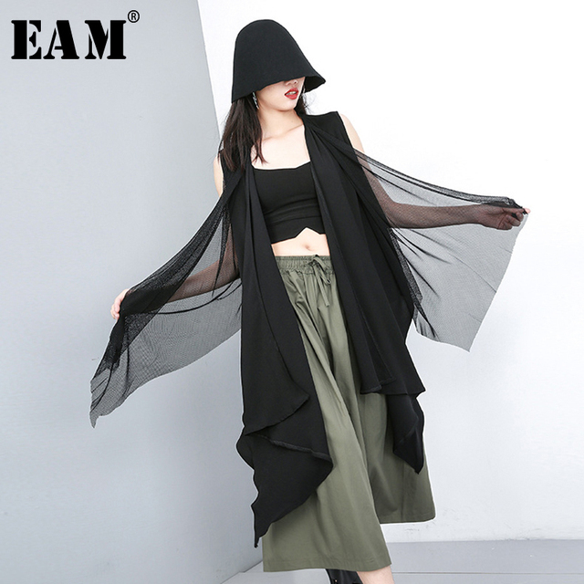 [EAM] 2019 New Spring Summer V-collar Sleeveless Black Chiffon Split Joint Irregular Big Size Long Vest Women Fashion Tide JU675